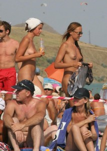 Nudists on a beach