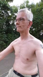 Bare-chested bike ride