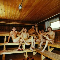 naked in the sauna