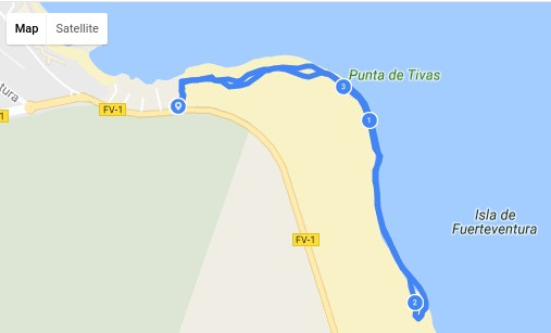 Beach map with walk outline