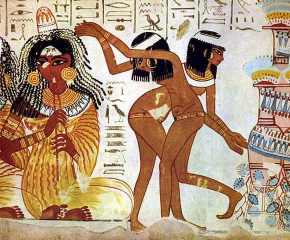 Musicians and dancers on fresco at Tomb of Nebamun