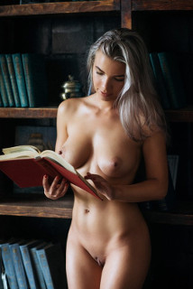 Woman reading naked