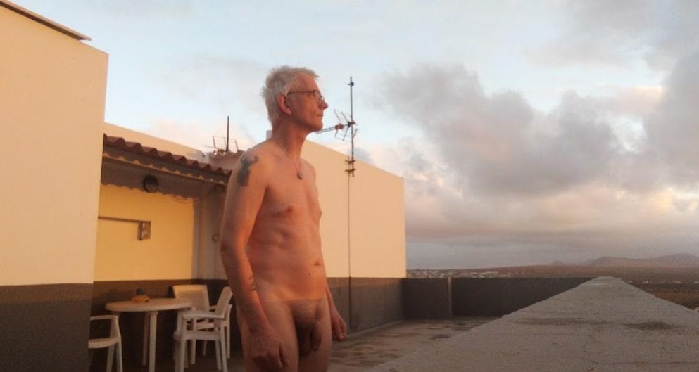 Nude on roof Fuerteventura