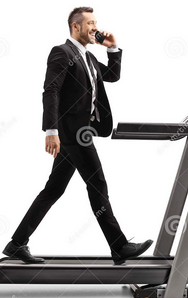 Walking and calling on treadmill