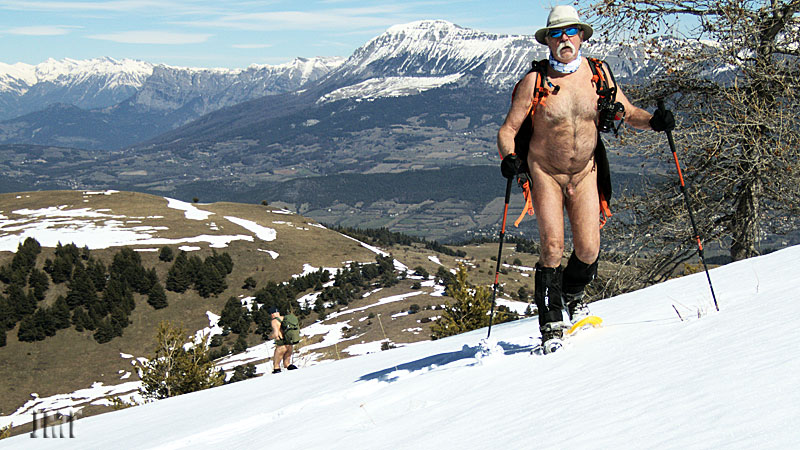 Nude hike in the snow.
